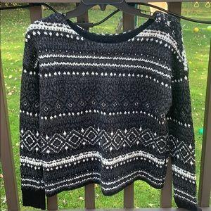 American Eagle Black&White Tribal Print Sweater